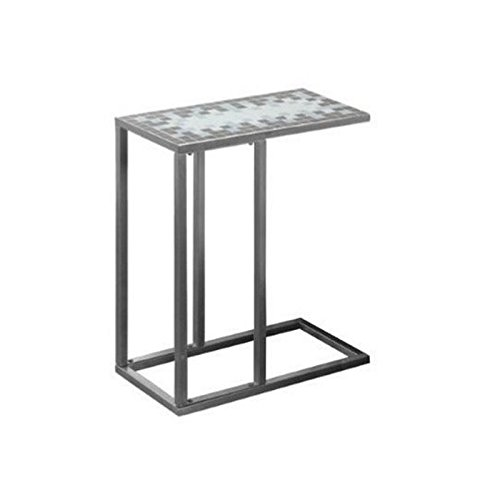 BOWERY HILL Blue Tile Top End Table in Hammered Silver (Nesting Tables Mosaic)