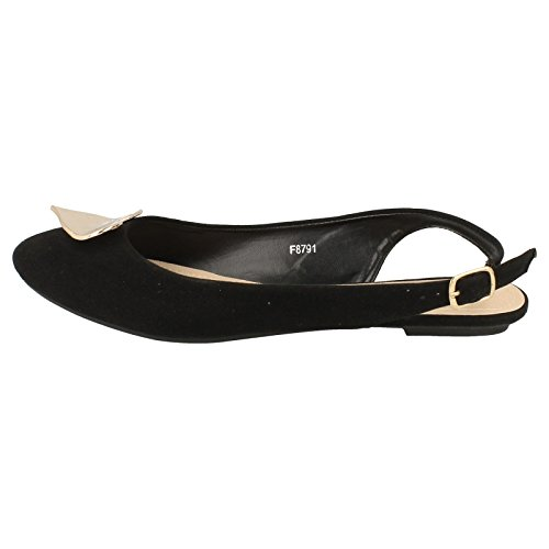 Sling Flat On Black Heart Spot Trim Ballerina Metal Back Ed5UwUq