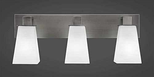 Toltec Lighting 583-GP-671 Apollo - Three Light Bath Bar, Graphite Finish with Square White Linen Glass