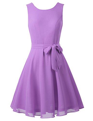 (Kate Kasin Women's Elegant Pleated Prom Chiffon Dress with Belt M KK625-4)