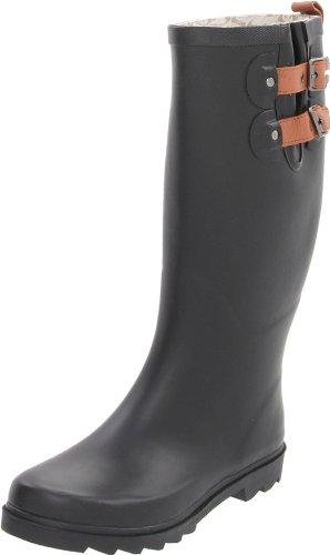 Chooka Women's Top Solid Tall Rain Boots Rain Boot, Black-Matte, 7 M US