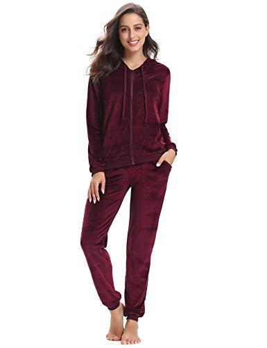 Hoodie Pants Velour - Abollria Women's Long Sleeve Solid Velour Sweatsuit Set Hoodie and Pants Sport Suits Tracksuits Wine Red