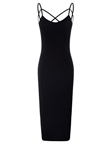 Kate Kasin Sleeveless Spaghetti Strap Long Cami Slip Bodycon Slip Dress (Black XL)