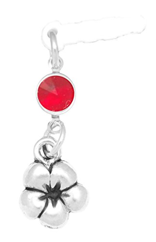 Clayvision Plumeria Flower Phone Charm with Ruby Colored Crystal July White Plug