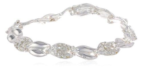 "Napier ""Giftable Silver-Tone Crystal Line Boxed Bracelet, 7"""