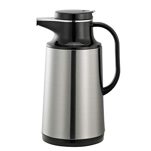 - Service Ideas HPS101 Glass-Lined Carafe, Vacuum Insulated, 1 Liter (33.8 oz.), Brushed Stainless/Black Accents