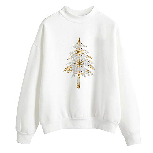 iYBUIA Simple Style Women Christmas Print Long Sleeve Ladies Blouse Pullover Tops Shirt Sweatershirt -