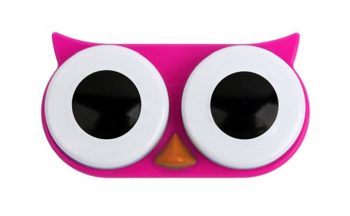 Kikkerland Rétro hibou Contact Lens Case-Rose