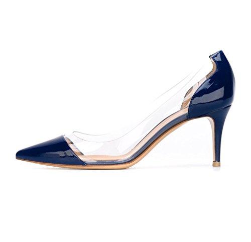 EDEFS Womens Pointed Toe Mid Heel Court Shoes Transparent Pumps Slip-on PVC Dress Shoes Blue