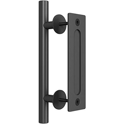 "SMARTSTANDARD Heavy Duty 12"" Pull and Flush Barn Door Handle Set, Large Rustic Two-Side Design, for Gates Garages Sheds Furniture, Black Powder Coated Finish, Round"