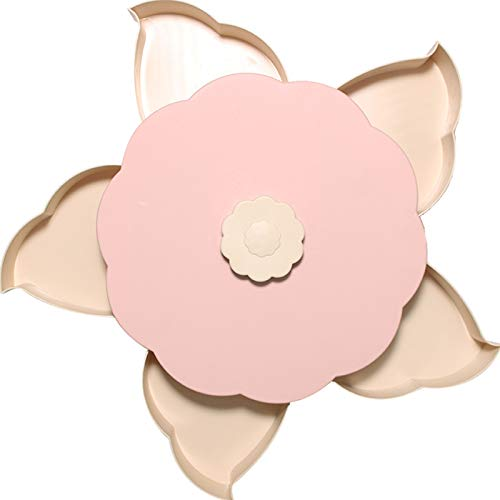 (Firlar Rotating Candy Box,Creative 5 Grid Petal Shaped Dried Fruit Plate Snack Candy Tray Perfect for Home Party Wedding Decoration (Pink))