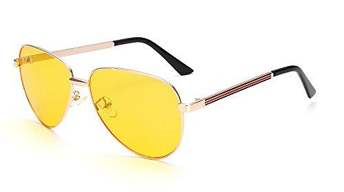 Beison Womens Mens Aviator Sunglasses Metal Frame Eyeglasses UV400 (Gold / Yellow lens, - Yellow Glasses Fashion Tinted