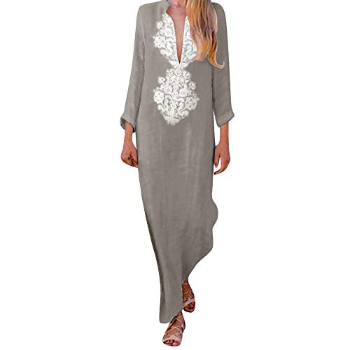 (Womens Long Sleeve KIKOY Fashion Printed V-Neck Maxi Dress Hem Baggy Long)