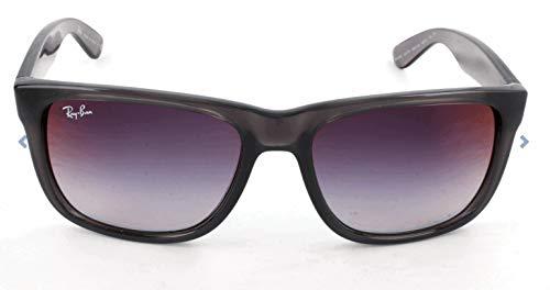 Ray-Ban RB4165 Justin Rectangular Sunglasses, Transparent Grey/Grey Gradient Mirror, 51 mm