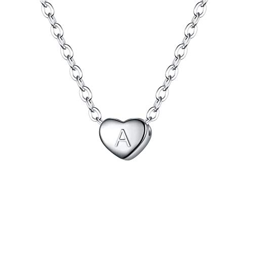 (BriLove 925 Sterling Silver Tiny Initial Heart Necklace for Women Pendant Choker Necklace for Girls Letter A)