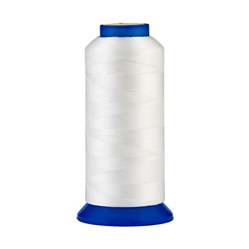 130g / 22 Colors Available] UV resistant High Strength Polyester Thread #69 T70 Size 210D/3 for Upholstery, Outdoor Market, Drapery, Beading, Purses, Leather ( White ) (White Beading Thread)