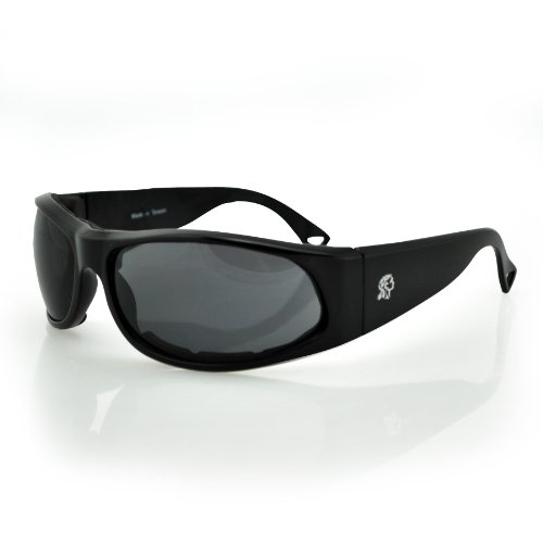 ZANheadgear Foam Padded California Sunglass with Shiny Black Frame and Smoked Lenses