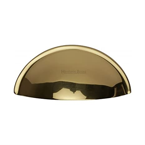 Drawer Pull Handle Polished Solid Brass Heavy Duty Traditional Fingertip Half Moon Cup Pull Design 85mm Width Concealed Fixings Kitchen Bathroom Cupboards Cabinet Doors Furniture Restoration Satin Brass