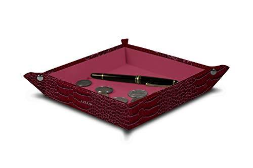 Fuchsia Calfskin Leather - Lucrin - Square Tidy Tray (8.27 x 8.27 x 1.38 inches) - Fuchsia - Crocodile Style Calfskin