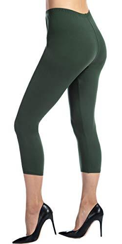 Womens Leggings Super Soft Yoga Pants Regular and Plus Size C8(Olive Green - Footless Capri Tights