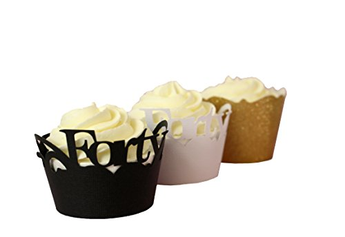 Black, White & Gold Forty Cupcake Wrappers Kits