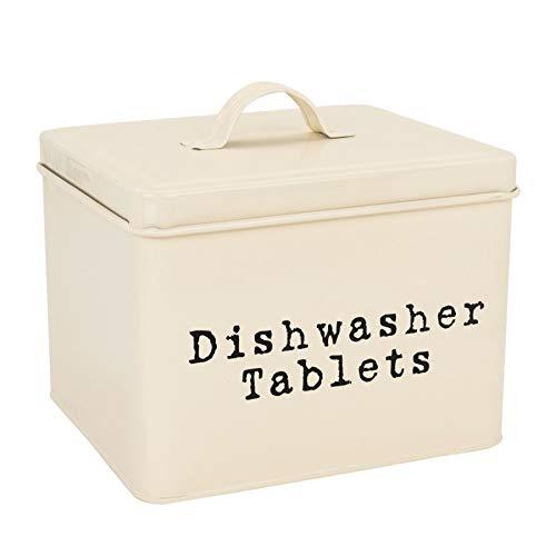 (Harbour Housewares Dishwasher Tablet Storage Tin in Vintage Metal - Cream)