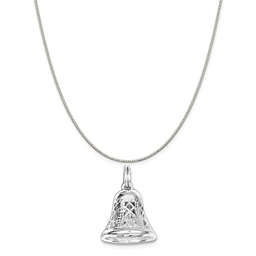 Mireval Sterling Silver Polished Movable Bell Charm on a Sterling Silver Box Chain Necklace, 18