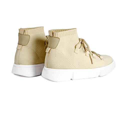 Women's DANDANJIE Shoes Shoes Casual Elastic Beige Flat Shoes Socks Heel High Shoes Top dB61BfrqW