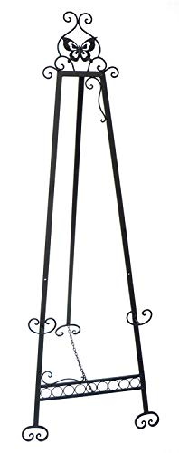 """Designstyles Decorative Metal Easel Stand - Adjustable Floor Display for Art Pieces, Signs, Mirrors and Chalk/Dry Erase Boards - 61"""" Tall, Antique Finished Iron, Black - Butterfly Design - 2 Pack from Designstyles"""