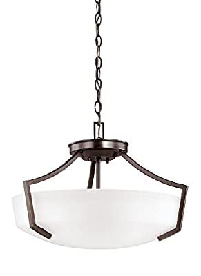 Sea Gull Lighting 7724503EN3-710 Hanford Pendant, 3-Light LED 28.5 Total Watts, Burnt Sienna