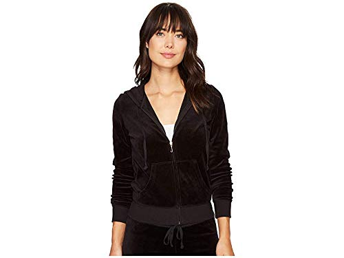 (Juicy Couture Black Label Women's Velour Robertson Jacket, Pitch Black, M)