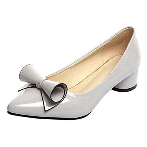 Sunhusing Women's Casual Point Toe Slip-On Work Shoes Ladies Square Heel Butterfly Knot Office Single Shoes Gray ()