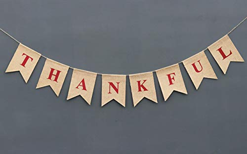 Fall Scene Setters - Thankful Burlap Banner Thanksgiving Decoration Engagement