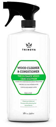 - Wood Cleaner, Conditioner, Wax & Polish - Spray for Furniture & Cabinets - Removes Stains & Restores Shine - Wax & Oil Polisher - Works on Stained & Unfinished Surfaces - 18 OZ - TriNova