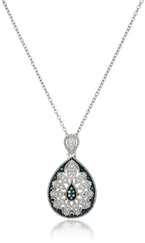 Pendant Art Deco Gold (Sterling Silver and 14k Gold Blue Diamond Pear Shaped Art Deco Pendant Necklace, 18