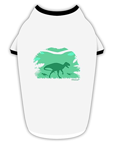 (TooLoud Dinosaur Silhouettes - Jungle Cotton Dog Shirt White with Black Large)