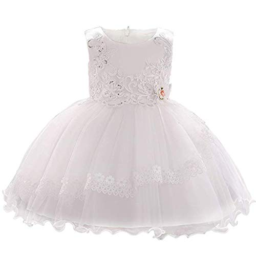 Baby Girls Dresses 12-24 Months White Party Lace Flowers Wedding Formal Christening Dresses for Baby Girls Dresses Summer Holiday Elegant Baby Dresses White Dress for Toddler Girl (O-1885,Ivory,90) -