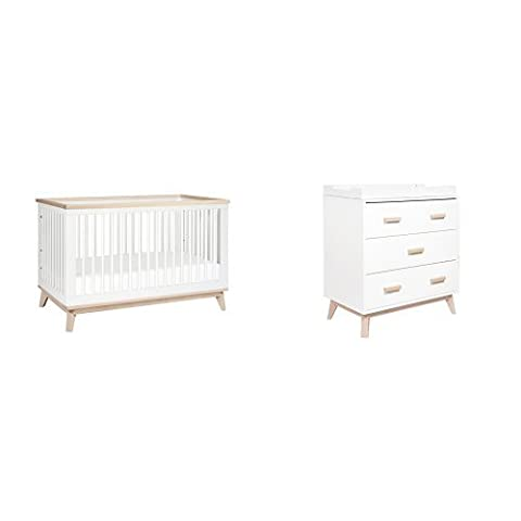Babyletto Scoot 3-in-1 Convertible Crib, White/Washed Natural and 3-Drawer Changer Dresser, White/Washed Natural - 3 Drawer Combo Changer