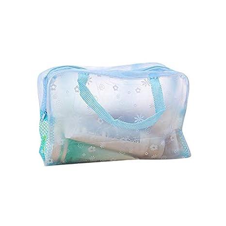 Neceser para lavado de cosméticos, bolsas de maquillaje con cremallera, bolsa de almacenamiento de viaje, impermeable, organizador transparente azul M