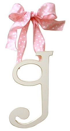 - New Arrivals Wooden Letter G with Pink Polka Dot Ribbon, Cream