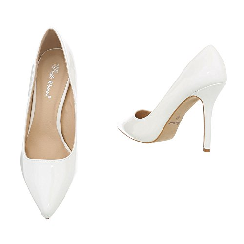 Ital-Design High Heel Pumps Damenschuhe Pfennig-/Stilettoabsatz Heels Weiß I9828