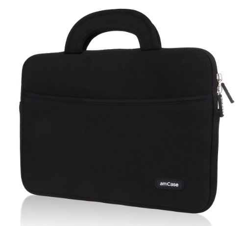 (amCase Chromebook Case-14 inch Travel/Carry Sleeve with Handle-Black)