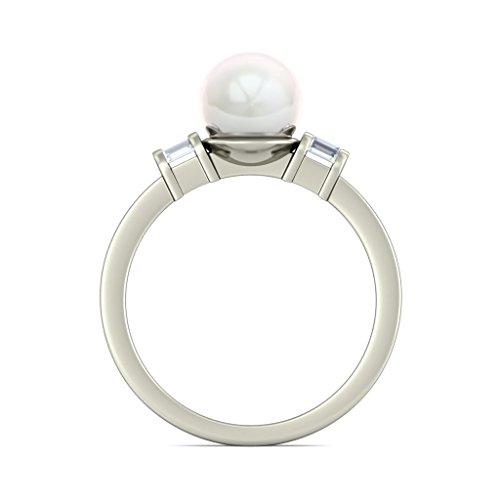 18K Or Blanc, 0,13carat Diamant Blanc (IJ | SI) Blanc perle et diamant Bague