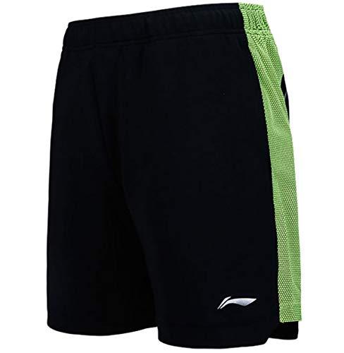 Badminton Clothing - LI-NING Men Professional Badminton Shorts Polyester Breathable Comfort Sports Competition Shorts Black AAPN153 Size XL