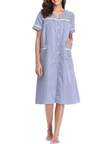 Gown Striped - Lusofie Cotton Nightgown for Women Short Sleeve Nursing Gown Striped Sleepdress (Navy Blue, S)