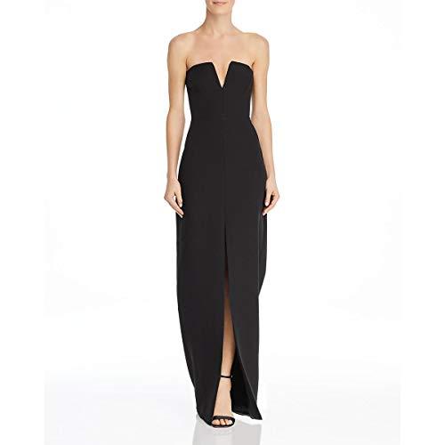 BCBGMax Azria Women's Strapless Notch V Gown, Black, 10 (Bcbgmaxazria Dress Women)