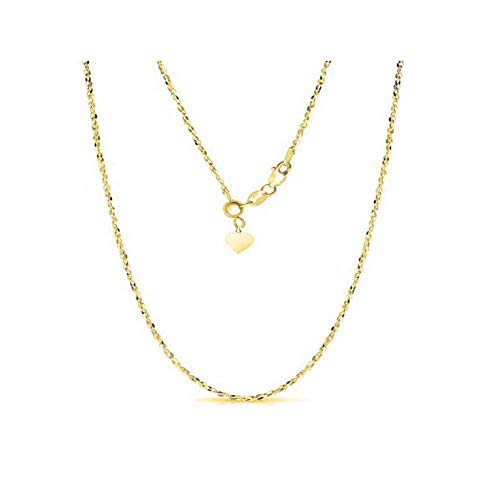 Sterling Silver 1.5MM Fancy Italian Adjustable Diamond Cut Twisted Serpentine Sparkle Chain Necklace- Silver Slider Necklace 4 Colors (Gold)