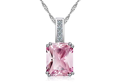 Eliana and Eli 3.0 Ct. Simulated Pink Topaz Crystal Gemstone August Birthstone Pretty in Pink Silver Pendant Necklaces-Gift for girlfriend 3 Stone Set Pendant