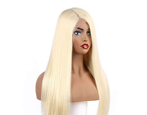 Lace Frontal Synthetic Wigs Platinum Blonde Silky Straight Costume Wigs,13x6 Lace Front 613,20inches]()