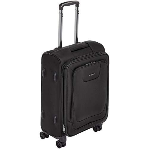 AmazonBasics Expandable Softside Carry-On Spinner Luggage Suitcase With TSA Lock And Wheels - 21 Inch, Black (Light Double Handle Bag)
